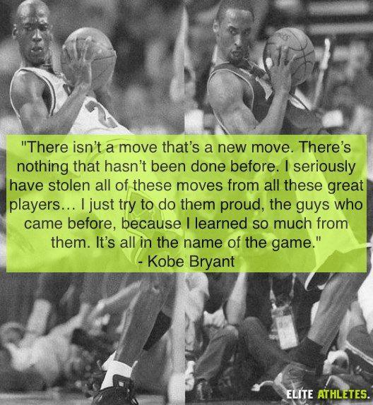 Citation de Kobe Bryant sur une illustration de lui-même imitant Michael Jordan